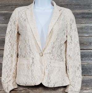 NY Collection Petite Lace Detail One Button Blazer